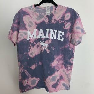 Gildan Tops - Maine Bleached Tie Dye Purple and Blue T-Shirt
